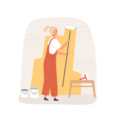 female painter dyeing wall with paint roller tool vector image