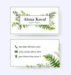 Floral business card design with greenery leaves vector