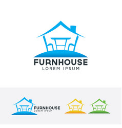 Furniture house logo design vector