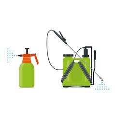 Garden manual plastic sprayer and knapsack vector