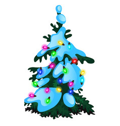 Green christmas tree with glowing garland glass vector