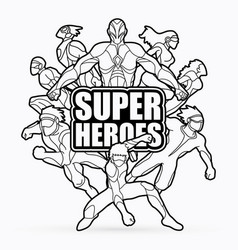 Group of super heroes action with text vector