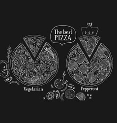 hand drawn pizza banner italian pizza on chalk vector image