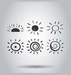 hand drawn sun icon set sun sketch doodle vector image