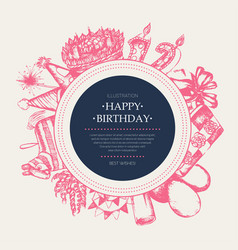 happy birthday - modern drawn round banner vector image