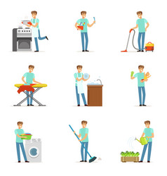 Happy househusband men cleaning their house vector
