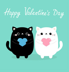 happy valentines day white and black baby cat vector image
