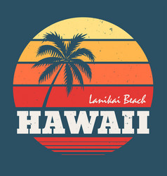 hawaii lanikai beach tee print with palm tree vector image
