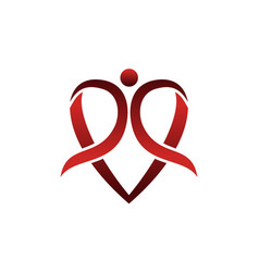 heart ribbon globe vector image