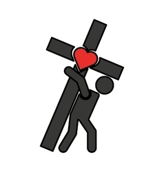 Human silhouette carrying the cross vector