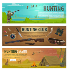 Hunting sport equipment and hunter weapon banners vector