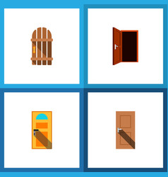 icon flat approach set of entry gate door and vector image