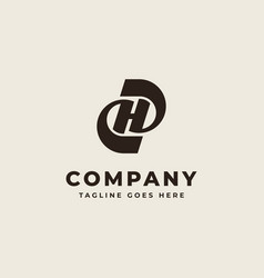 initial d h dh hd monogram logo design vector image