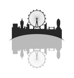 isolated cityscape of london with the london eye vector image