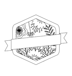 Isolated flowers frame with ribbon design vector