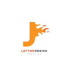 J letter flame logo design fire logo lettering vector