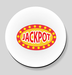 Jackpot winnings inscription sticker icon flat vector
