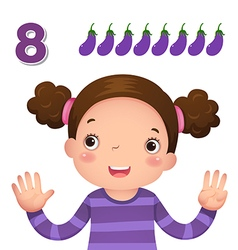 Learn number and counting number eight vector