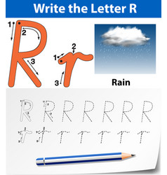 Letter r tracing alphabet worksheets vector