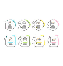 Lock 24h service and servers icons set seo sign vector
