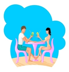 man and women drinking a coctail vector image