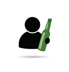 Man icon with bottle in hand vector