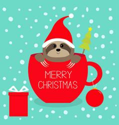 Merry christmas fir tree goftbox sloth sitting in vector