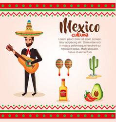 Mexican mariachi with set icons character vector