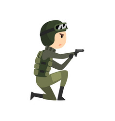 Military man with gun soldier character in vector