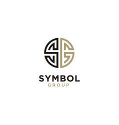 Monogram initial sg circular medal ornament logo vector