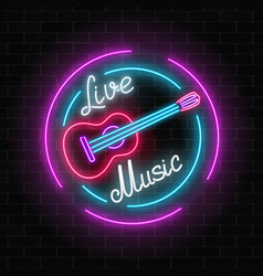 Neon sign of bar with live music on a brick wall vector