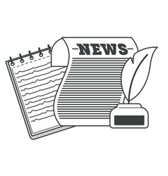 newspaper with ink and feather notepad vector image