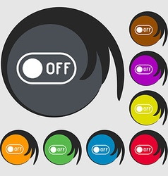 off icon sign Symbols on eight colored buttons vector image