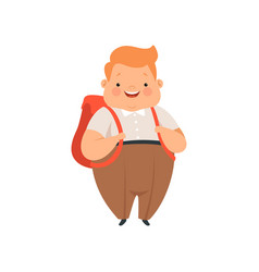 Overweight boy standing with backpack cute chubby vector