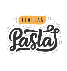 Pasta logo badge with modern calligraphy vector