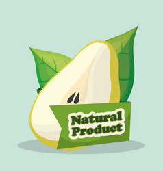 Pear natural product market label vector