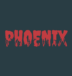 Phoenix city name and silhouettes on them vector