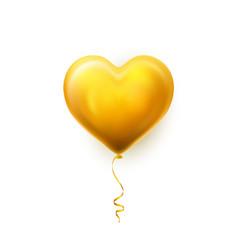 realistic golden heart balloon on white vector image