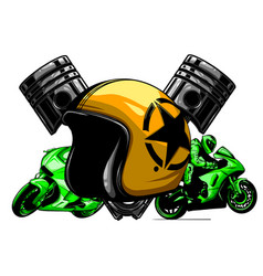 red motorcycle helmet icon of vector image