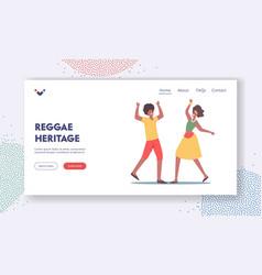 Reggae heritage landing page template african man vector