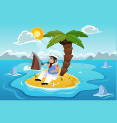 sailor stranded in an island vector image