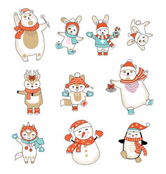 set animals characters in clothes vector image