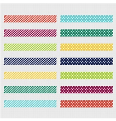 Set cute patterned washi tape strips vector