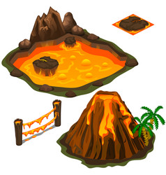 Set lava pool volcano fence and cover vector