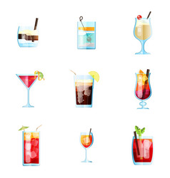 Set nine tropical cocktails in flat style for vector