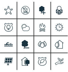 Set of 16 eco icons includes sun power house vector