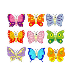 Set of 9 cartoon butterfly vector