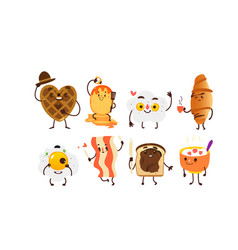 Set of funny smiling breakfast characters vector