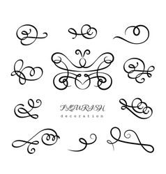 set of vintage calligraphic flourishes vector image