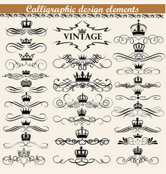 set vintage calligraphic design elements with vector image